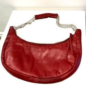 Enzo Angiolini Leather Hobo Chain Bag